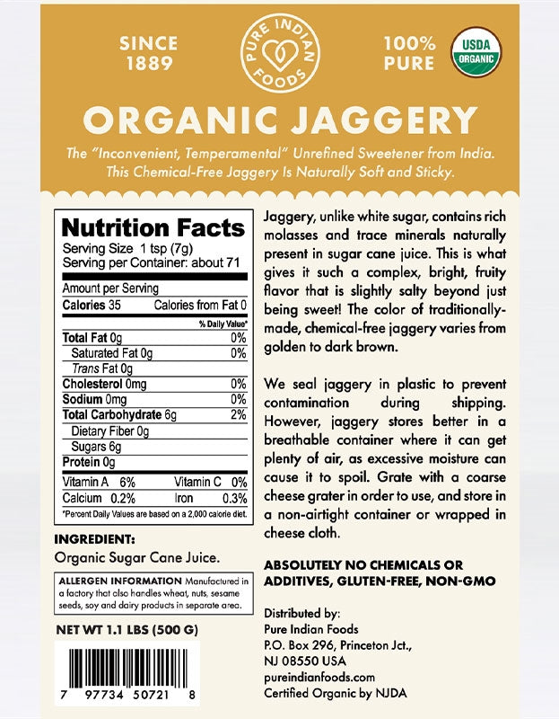 Pure India Foods, Organic Jaggery