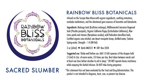 Rainbow Bliss Botanicals, Tincture, Sacred Slumber, 2oz
