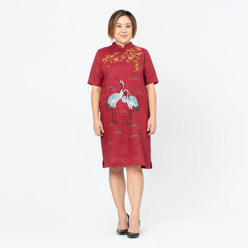 Embroidered Linen Qi Pao