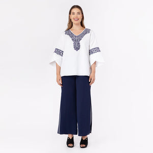 Linen Embroidered Top