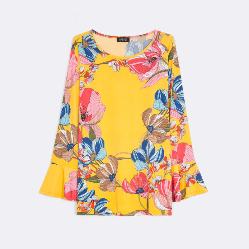 Printed Bell Sleeve Top (Size 12 & 14)