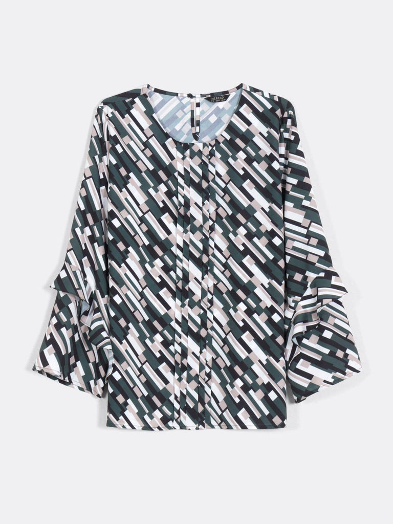 PRINT FRILLY SLEEVE TOP