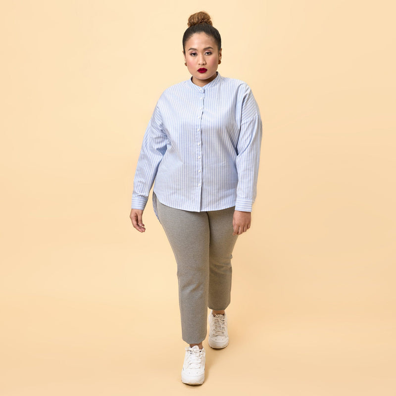 Nehru Collar High-Low Hem Shirt