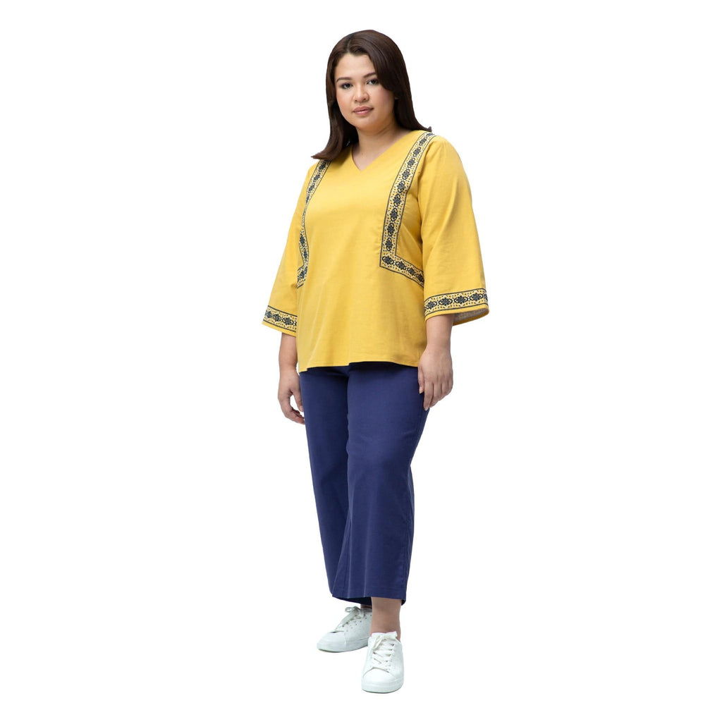Linen Embroidered Top MF00677-T | MS. READ