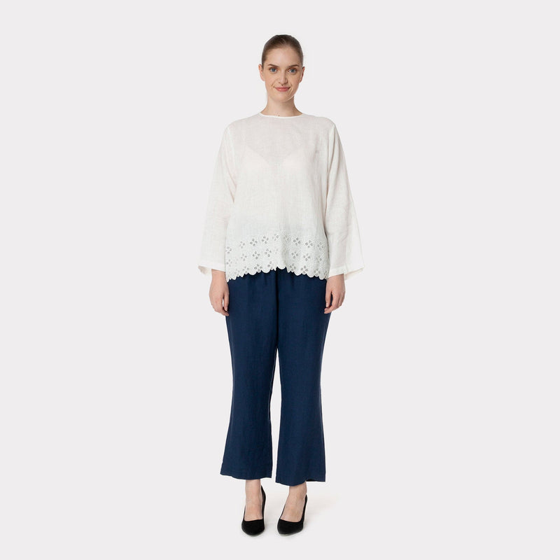 Embroidered Linen Top