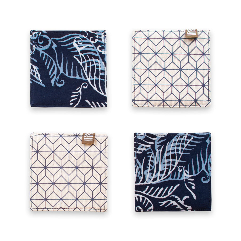 Coasters (Reversible) – Blue Nautical Fern