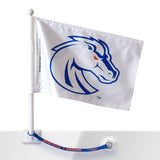 Boise State Car Flag w/Flag Saver (White)