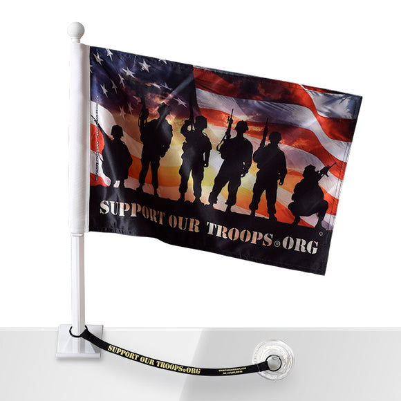 Soldiers with American Flag Car Flag w/Flag Saver
