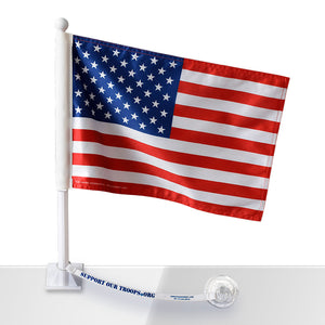 SOT American Car Flag w/Support our Troops.org Flag Saver