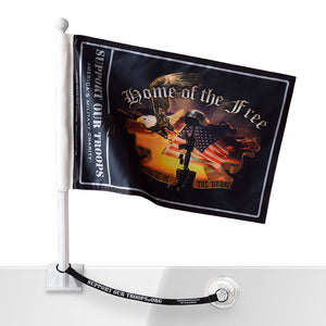 SOT Home of the Free Car Flag w/Flag Saver