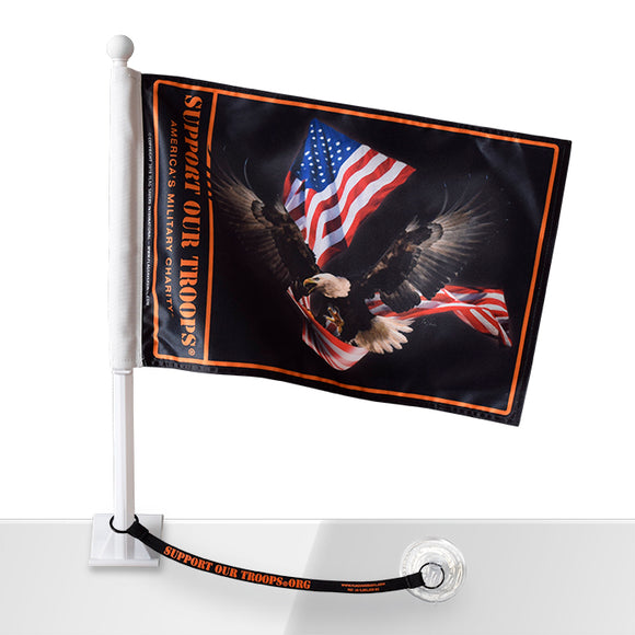 Support Our Troops® Eagle with USA Flag Car Flag w/Flag Saver