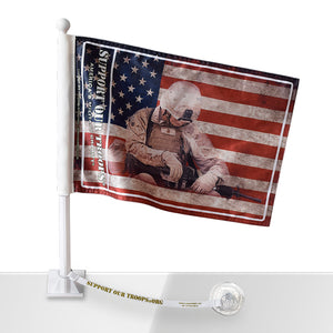 SOT American Flag w/Soldier Car Flag w/Flag Saver