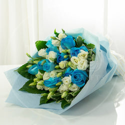 True Blue Romantic Blue Rose Bouquet AHB 13