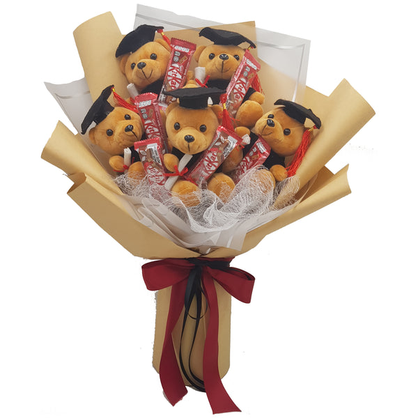Graduation Bouquet with Graduation Bear and Kit Kat Chocolate