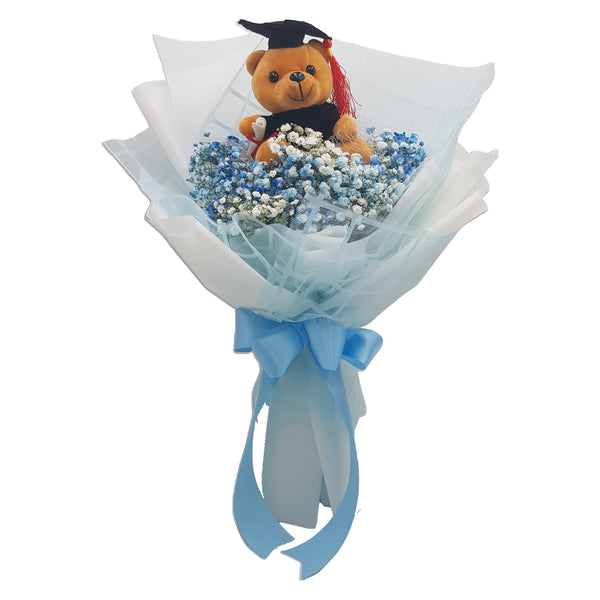 Graduation Bouquet with Baby Breath and Graduation Bear