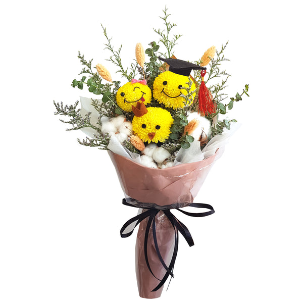 Emoji Graduation Flowers Bouquet (Real Flowers)