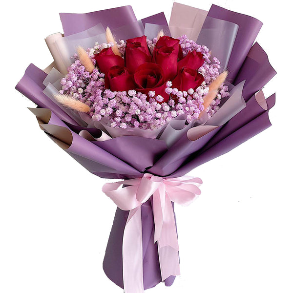 Shades of Red Roses Hand Bouquet