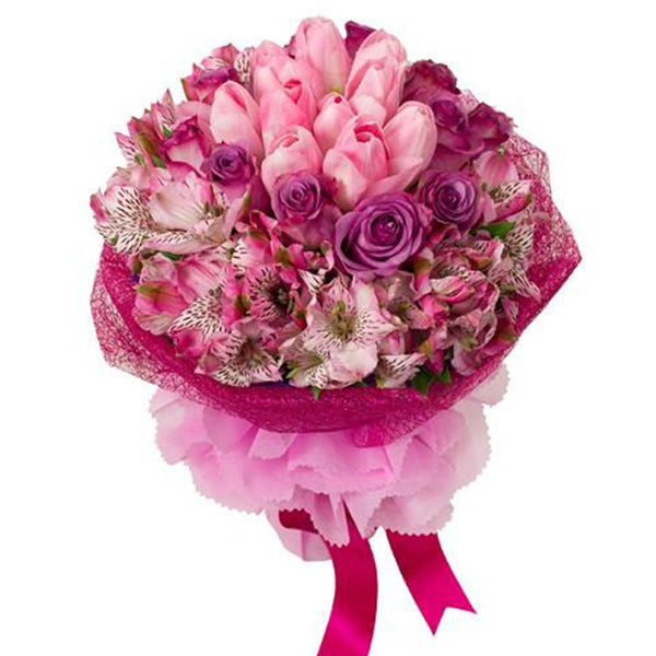 Pretty in Pink Tulips and Rose Bouquet AHB36