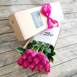 BRIGHT PINK ROSES GIFT BOX ABX01