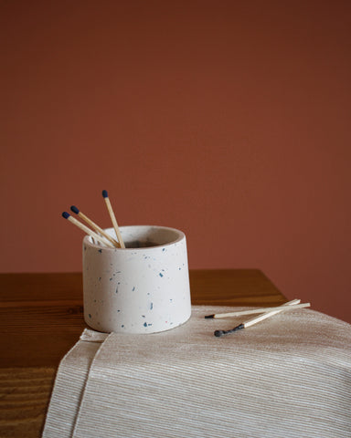 Sea breeze terrazzo pot refilled with matches