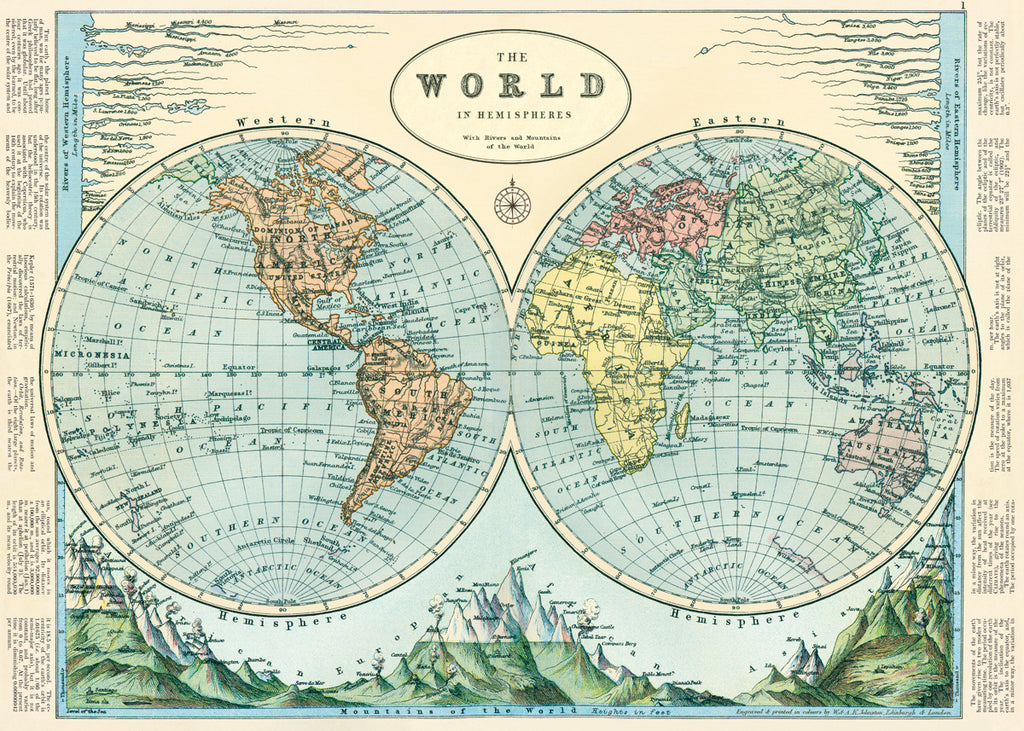 Cavallini & Co The World in Hemispheres No.25 Plakat 50x70cm - Norway Designs