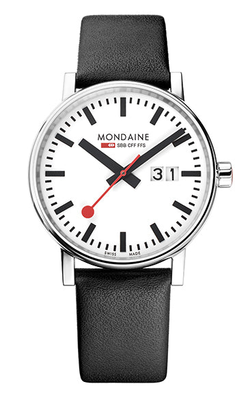 Mondaine - SBB - Evo2 BIG Date - Armbåndsur - 40mm - Sort/hvit -  Norway Designs