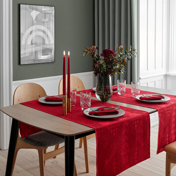 Georg Jensen Damask - Juleløper Deep Red 50x165cm - Norway Designs