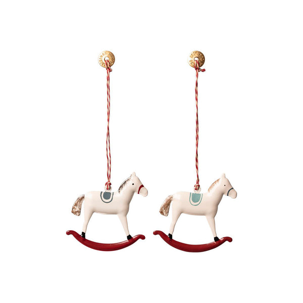 Julepynt Rocking Horse Hvit 1 stk - Norway Designs