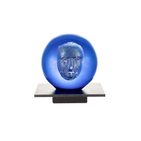 Kosta Boda Glass Skulptur Headman Blå - Norway Designs