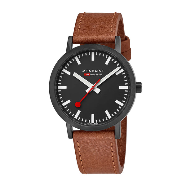 Mondaine - SBB Classic - Armbåndsur - 40mm - Brun/Sort PVD - Norway Designs
