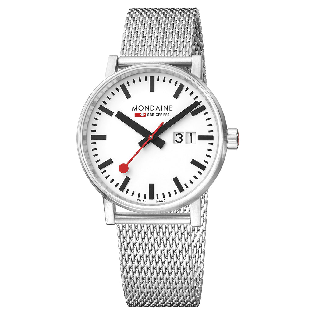 Mondaine - Evo2 - BIG Day Date - Armbåndsur - 40mm - Stållenke - Norway Designs