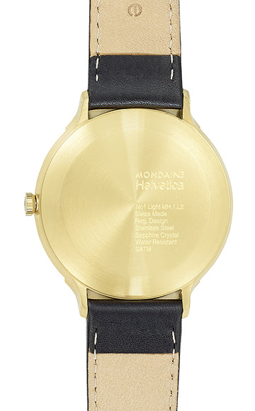 Mondaine - Helvetica No1 Light - Armbåndsur - 38mm - Sort/Hvit/Gull PVD - Norway Designs