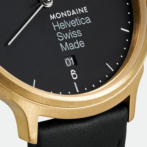 Mondaine - Helvetica No1 Light - Armbåndsur - 38mm - Sort/Sort/Gull PVD - Norway Designs