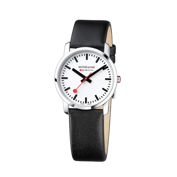 Mondaine - SBB - Simply Elegant - 36mm - Sort/Hvit - Norway Designs