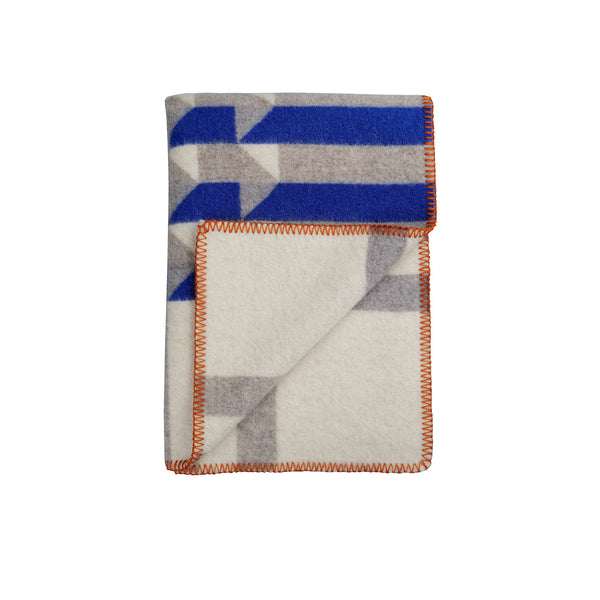 Røros Tweed Kvam Pledd Blue Throw - Norway Designs