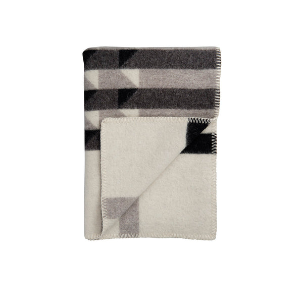 Røros Tweed Kvam Pledd Greyscale Throw  - Norway Designs