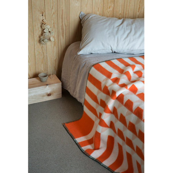 Røros Tweed Kvam Pledd Orange Throw - Norway Designs
