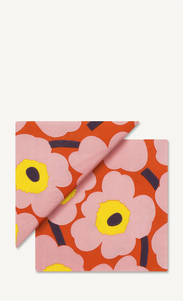 Marimekko Unikko - Papirservietter 33x33 cm Rosa/Orange - Norway Designs