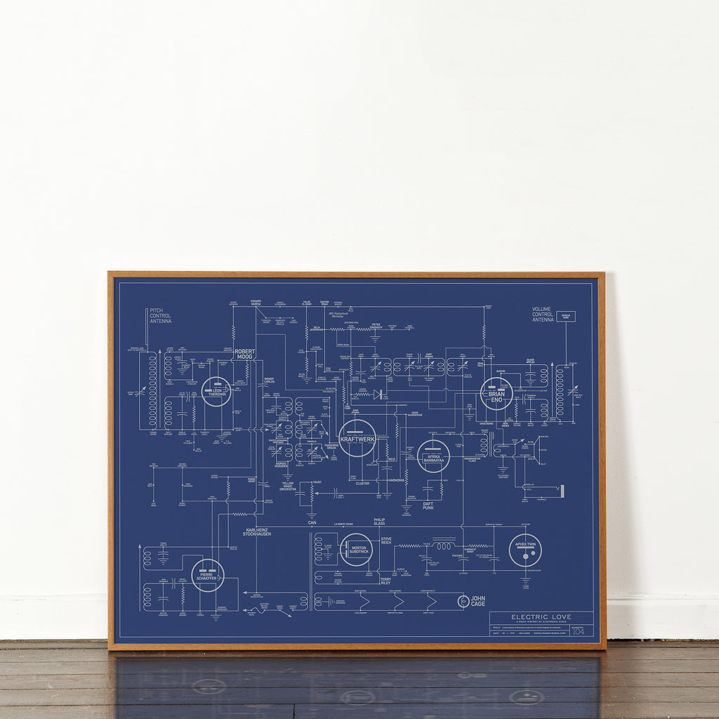 Dorothy Electric Love Blueprint Plakat 60x80cm - Norway Designs
