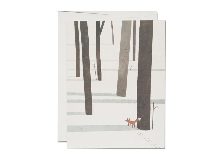 Red Cap Cards - Fox in the Snow Kort - Norway Designs