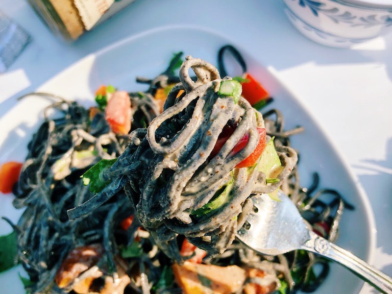 Vibrant Black Bean Noodle with Spicy Sprouted Almond Butter Sauce