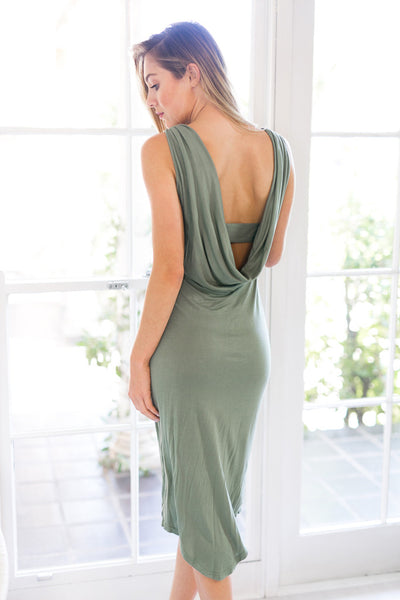 PREMONITION DESIGNS - FLUME DRESS IN KHAKI - Stunner Boutique  - 2