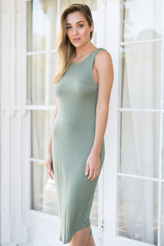 PREMONITION DESIGNS - FLUME DRESS IN KHAKI - Stunner Boutique  - 3