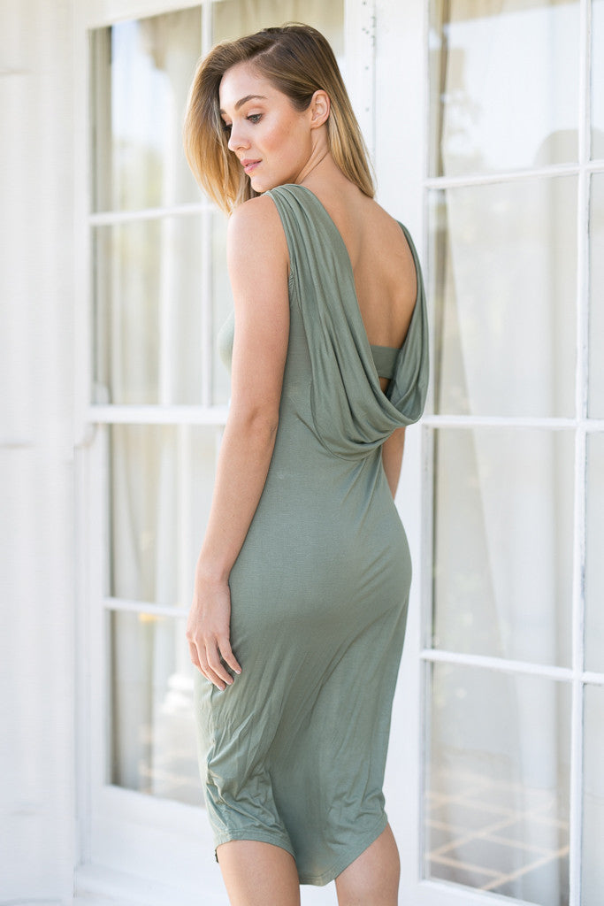 PREMONITION DESIGNS - FLUME DRESS IN KHAKI - Stunner Boutique  - 4