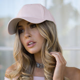 AVERY FAUX LEATHER CAP - BABY PINK - Stunner Boutique  - 2
