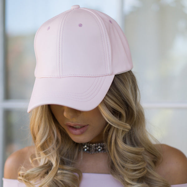 AVERY FAUX LEATHER CAP - BABY PINK