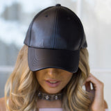 AVERY FAUX LEATHER CAP - BLACK - Stunner Boutique  - 2