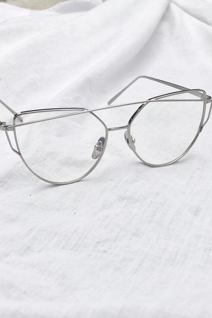 CHLOE CLEAR GLASSES - SILVER