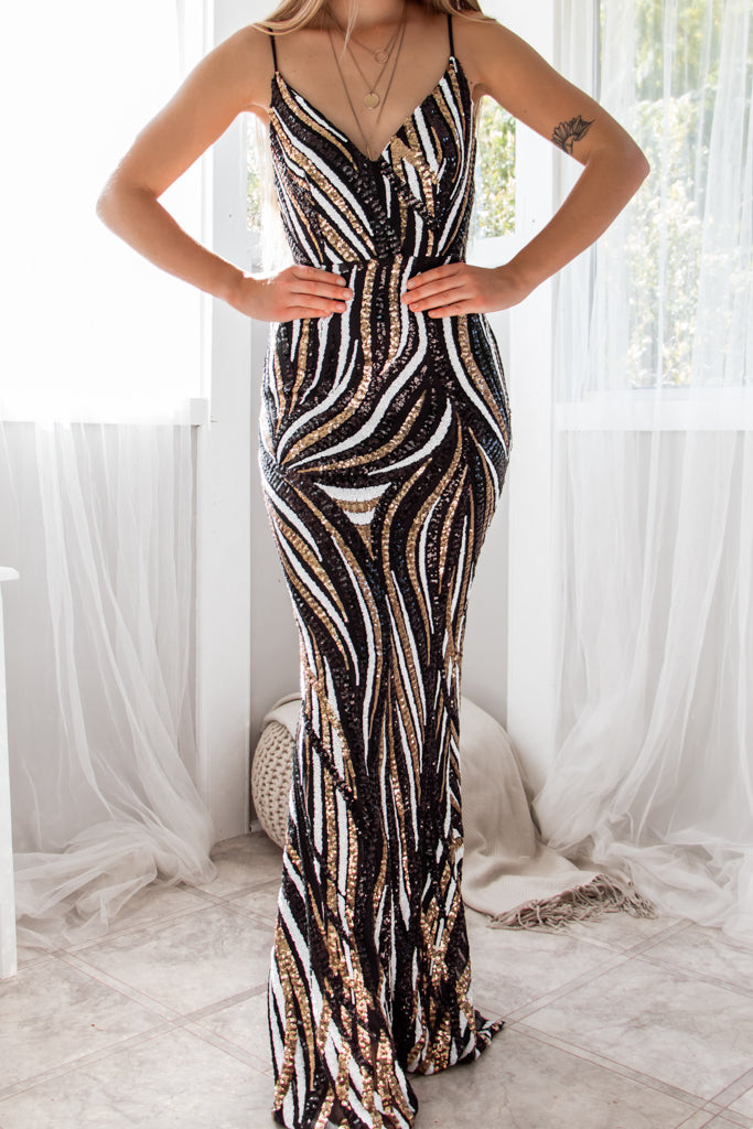 Harper Sequin Gown - Black