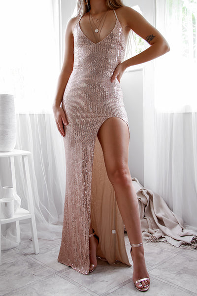 Milan Sequin Gown - Rose Gold